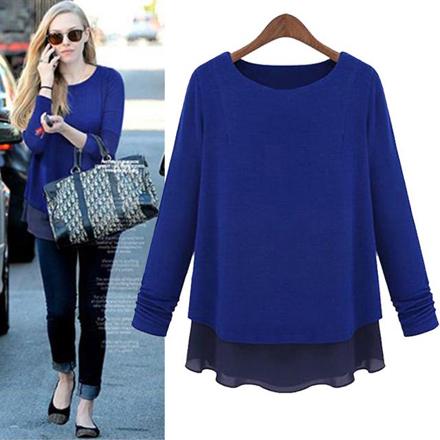 Moda Mujeres de la Camiseta más tamaño suelta la camisa básica femenina larga de las mujeres del remiendo largo-manga de la Camiseta larga de dos piezas tees tops