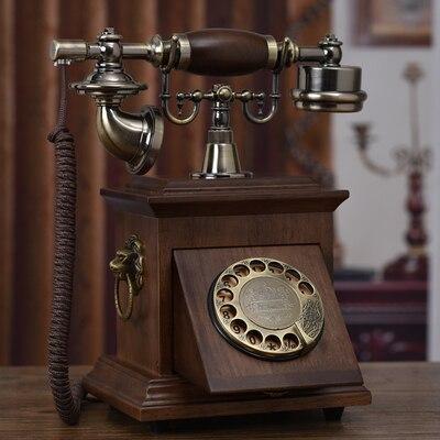 Bon art personnalité Solide bois rotatif disque phon téléphone fixe téléphones ornements Ameublement bouteille filaire sonneries