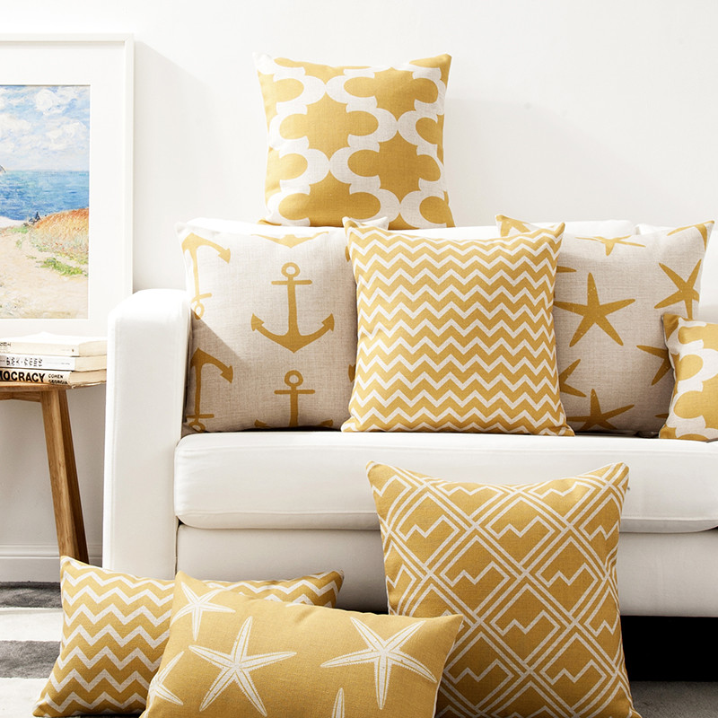 Decorattive throw pillow cover case elegant noble gold color geometric cotton linen cushion cover for sofa home housse coussin