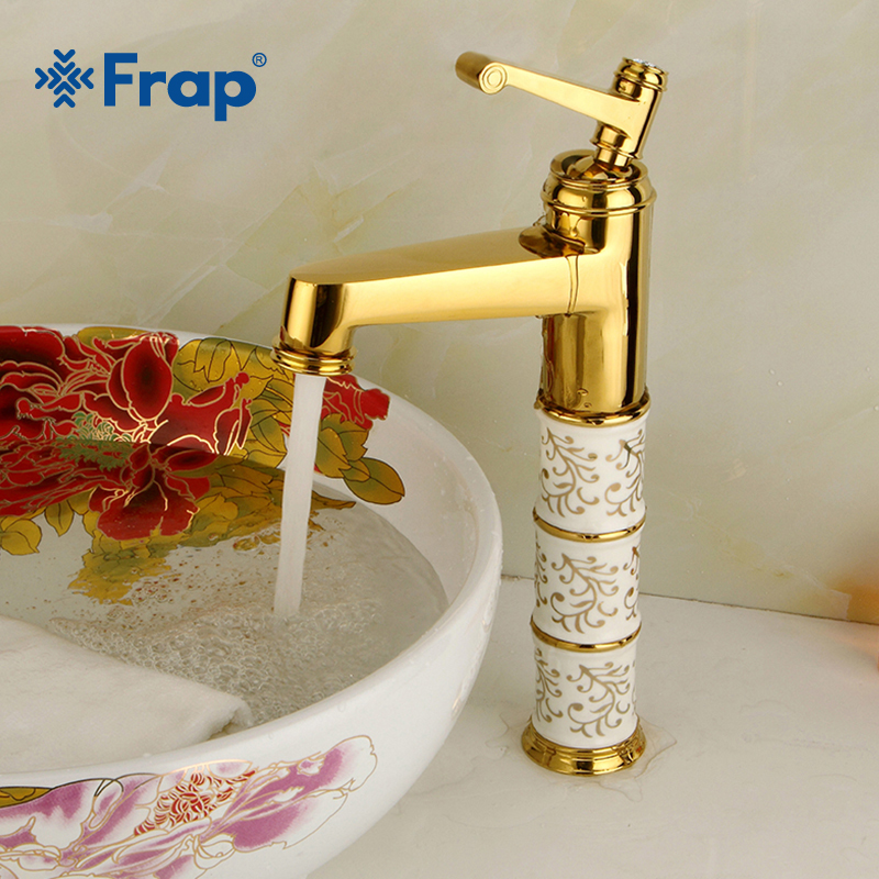 Frap New Crystal Basin Faucet Single Handle Single Hole Hot and Cold Water Sink Faucet Vintage Style Bath Accessories Y10087