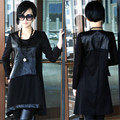 Brand casual  Women Shirt PU Leather Splice Crewneck Basic Shirt Tops Blouse