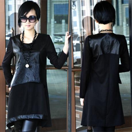 Brand casual Women Shirt PU Leather Splice Crewneck Basic Shirt Tops Blouse
