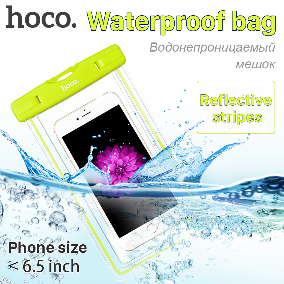 HOCO Waterproof Bag Reflective Mobile Phones Universal Clear Case Sealed Phone Pouch with Strap for iPhone