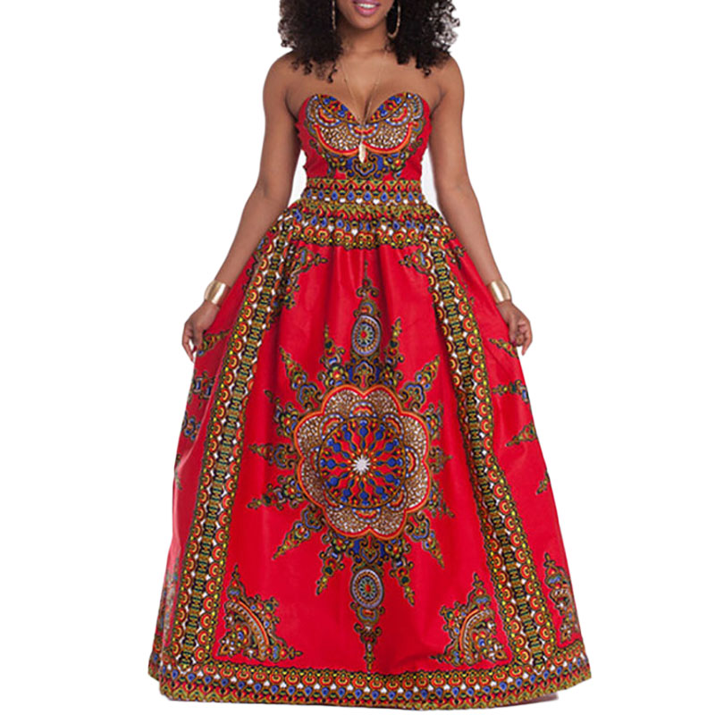 African Kaftan Bazin Riche Strapless Dresses For Women Dashiki Summer Ethnic Traditional Clothing Long Maxi Gown Robe Ladies