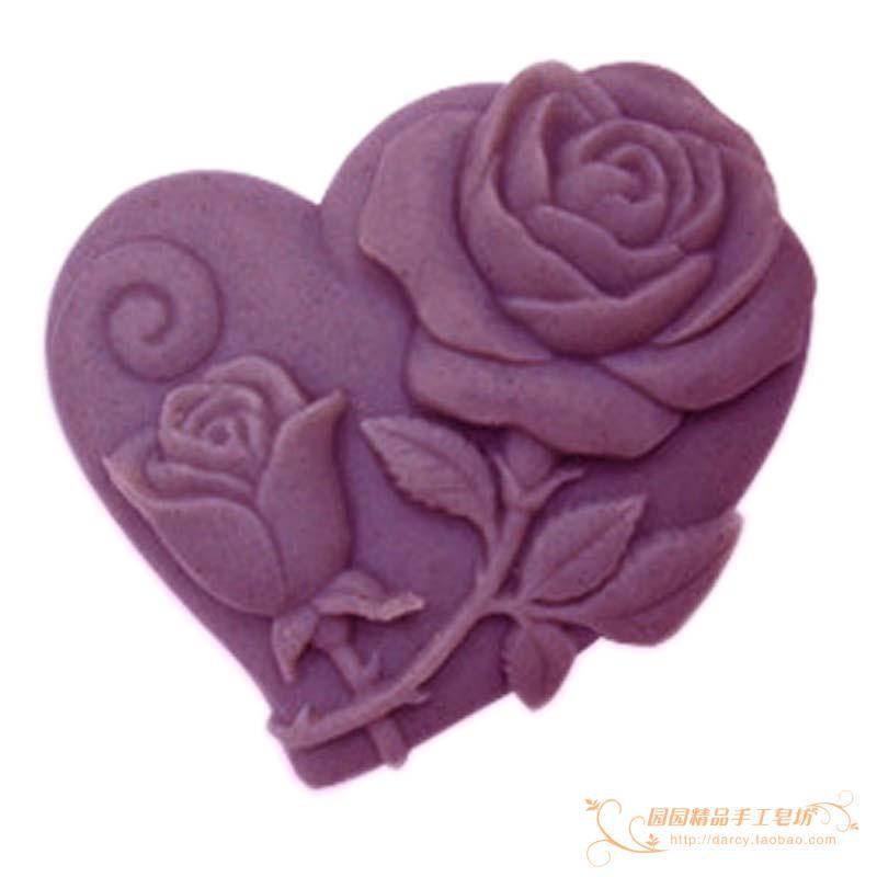 Rózsa szív szilikon szappan penész kézzel készített 3d szilikon penész DIY kézműves formák S079