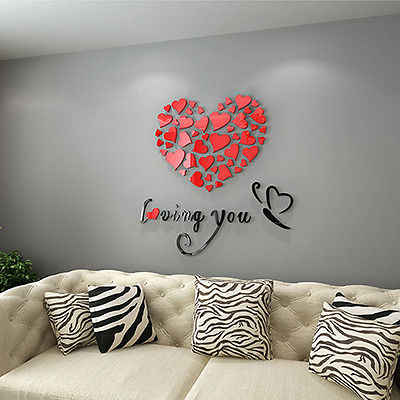 2017 New Lovely Mirror Hearts Home 3D Wall Stickers Decor DIY Decal Removable