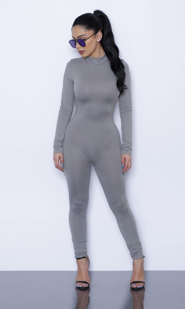 HTB1bmoSKVXXXXX apXXq6xXFXXXo - New Hot Casual Women One Piece Jumpsuits Long Sleeve turtleneck Bodycon Back Zipper Long Pants Sexy Outfits Grey Rompers