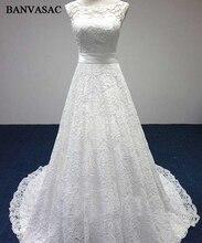 BANVASAC 2017 Baru A Line Bordir Elegan Perahu Leher Wedding Dresses Ikatan Simpul Sash Sleeveless Satin Sapu Kereta Bridal Gowns