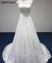 BANVASAC 2017 New A Line Elegant Embroidery Boat Neck Wedding Dresses Bowknot Sash Sleeveless Satin Sweep Train Bridal Gowns