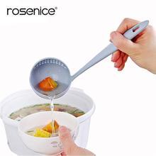 2 в 1 пластиковый напрягая ковш Суп Пан ложка с сетчатый фильтр кухонная посуда приготовления инструменты