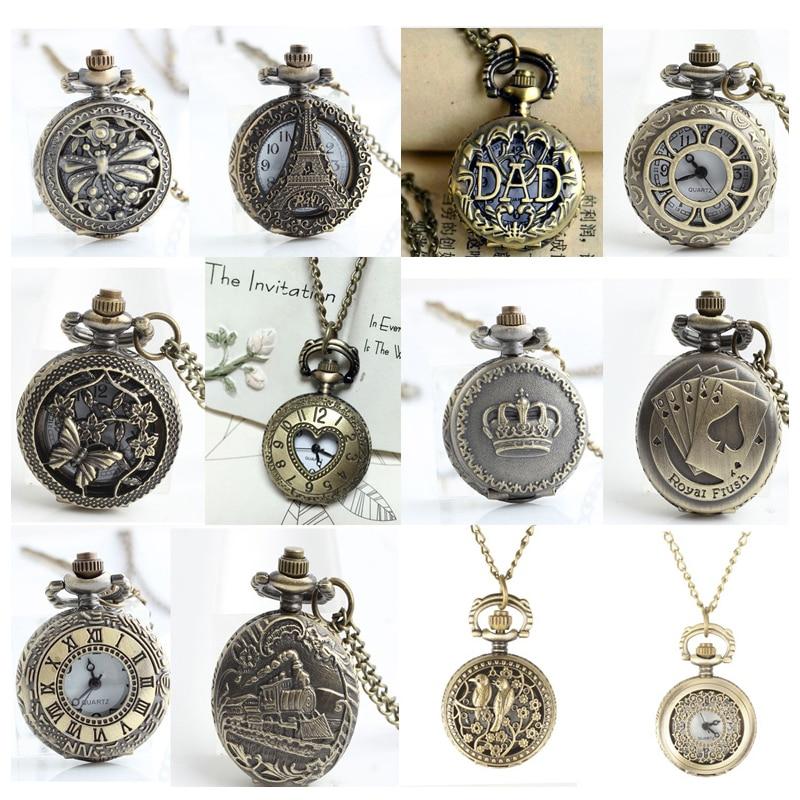 12 stk / lot Antik bronze lomme ure FOB ure mænd kvinder gave lomme med kæde høj kvalitet engros