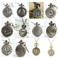 12 pcs/lot Antique Bronze Pocket Watches FOB Watches Men Women Gift Pocket With Chain High Quality Wholesale