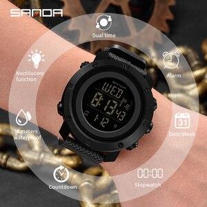 Image 3 - SANDA Reloj Hombre 2018 mody zegarek sportowy męskie zegarki cyfrowe odliczanie zatrzymanie zegarek Relogio Masculino wodoodporna para zegar