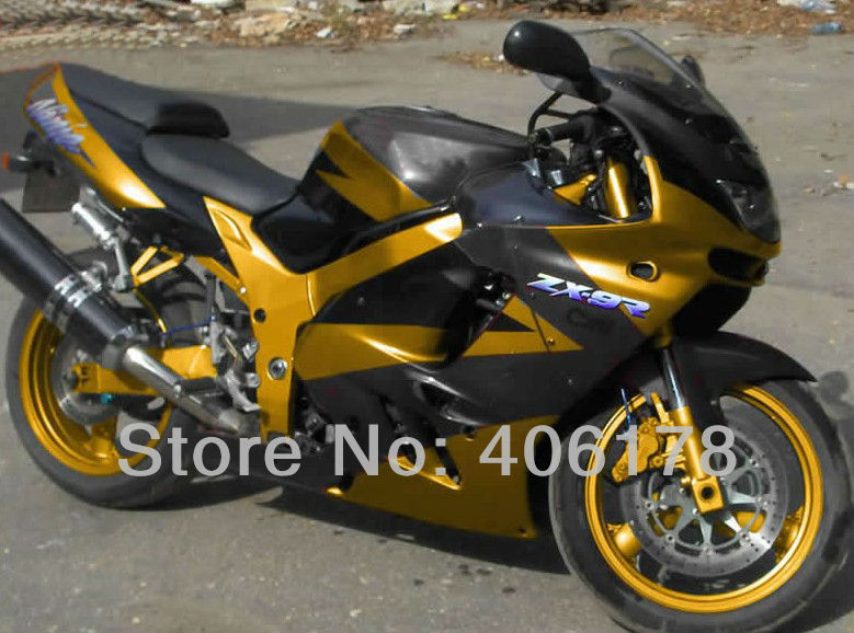 Hot Sales,Best price ZX 9R ZX-9R 94-97 full fairing kit For Kawasaki ZX9R 1994-1997 Golden and Black Motorcycle Fairings hot sales black frosted style motorcycle