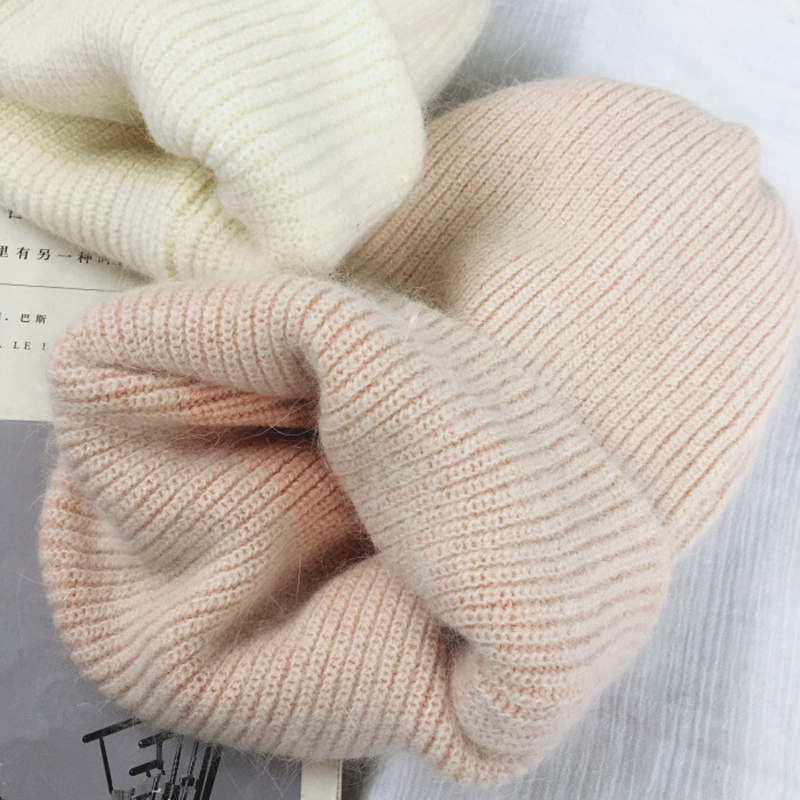 Autumn winter rabbit hair Winter skullies Hat fashion warm beanies hats casual women solid adult rabbit caps cover head 2