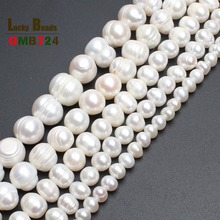wholesale 4mm 6mm 8mm 9mm 10mm 11mm Natural Freshwater White Pearl Round Beads 15