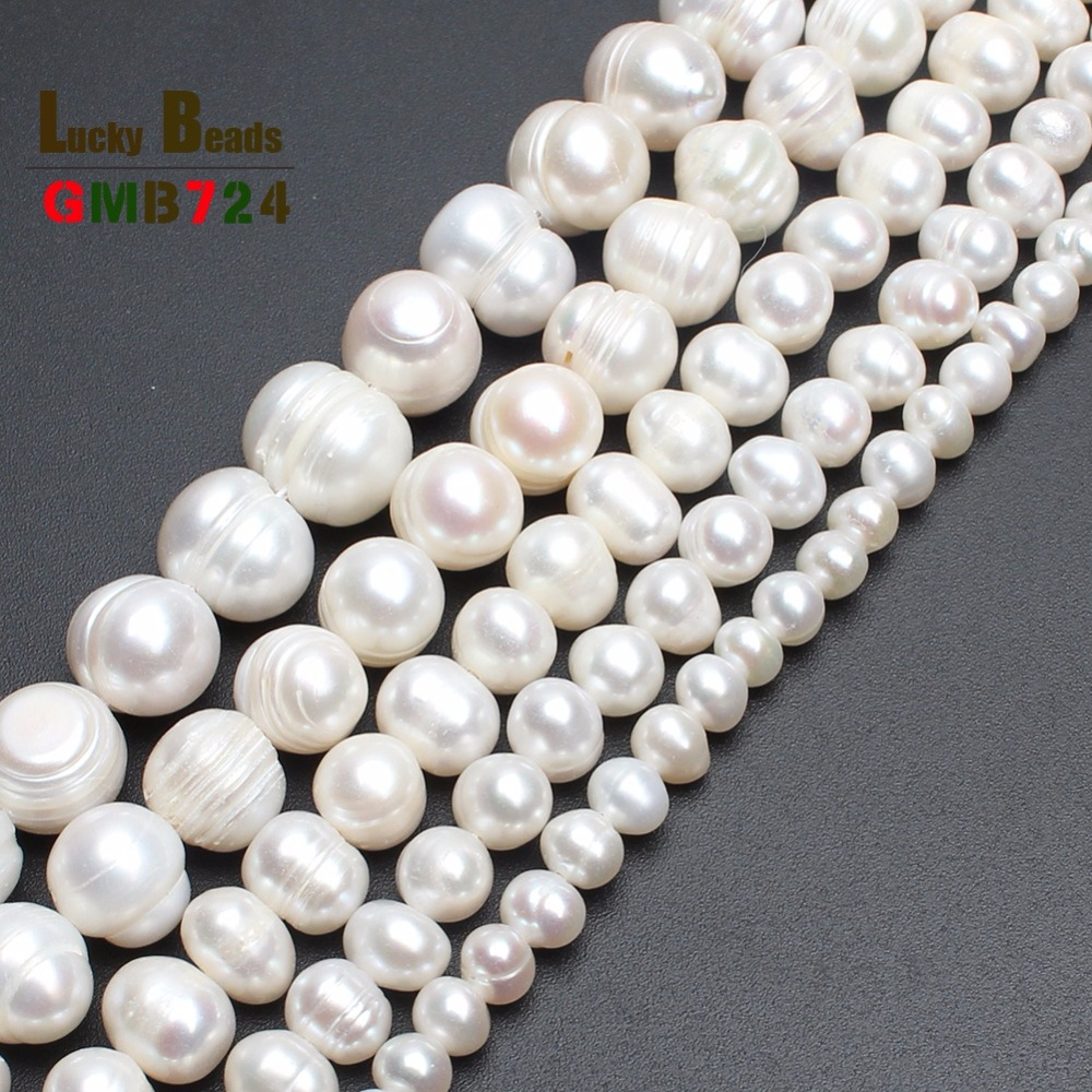 """wholesale 4 6 8 9 10 11mm Natural Freshwater White Pearl Round Beads 15"""" Free Shipping(F00070)"""