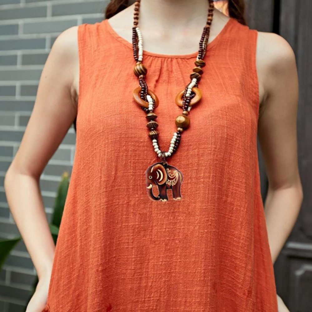 Ethnic Style Hand Made Elephant Long Sweater Pendant Necklace For Women Alloy Chain New Design Accessories