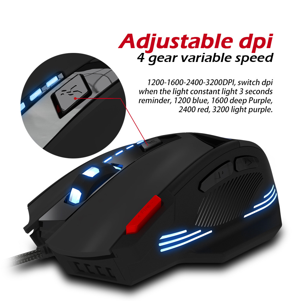7 Buttons USB Wired Gaming Mouse Adjustable 1000//1600//2400//3200 DPI LED Light