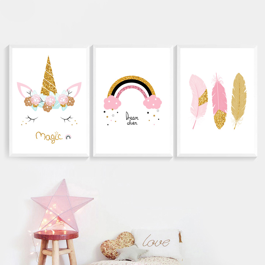 Cartoon Rainbow Unicorn Feather Wall Art Canvas Painting Nordic Posters And Prints Wall Pictures Kids Room Girl Room Wall Decor