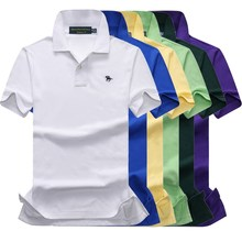 16 Colors Cotton Summer mens short sleeve solid color polos shirts small horse casual lapel Fashion slim tops866