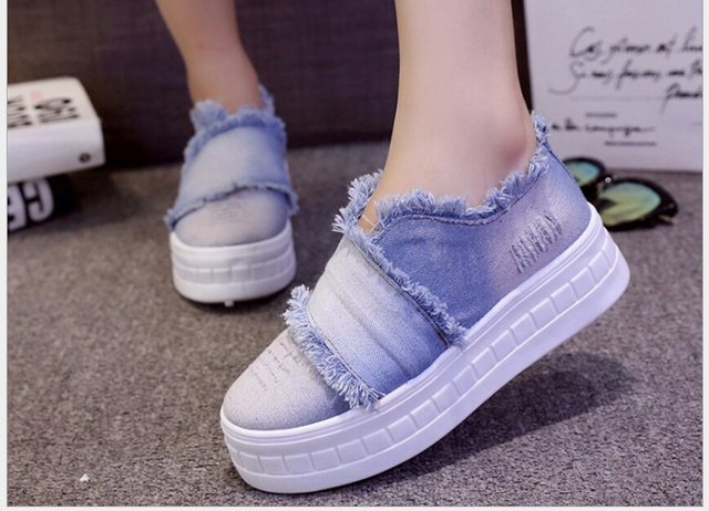 Women Shoes Slip-On casual canvas shoes women platform spring summer women denim shoes 2016A-1