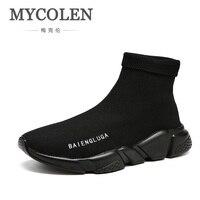 Mycolen 2018 Лидер продаж Для мужчин элегантная Эластичные носки обувь новая мода Мужские ботинки высокие человек трендовая обувь Scarpe Uomo invernali