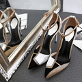2017 Summer Women Sexy Pointed Toe Sandals Genuine Leather Rhinestone Sandals Color Block 10cm High Heels Single Shoes