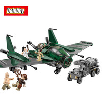 Indiana Jones Fight On The Flying Wing Building Blocks Bricks Toys Brinquedos Compatible Legoings City Aircraft