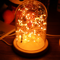 Fire tree silver lantern solid wood night lamp outer glass cover lamp inner layer Led l string bedroom furniture atmosphere l
