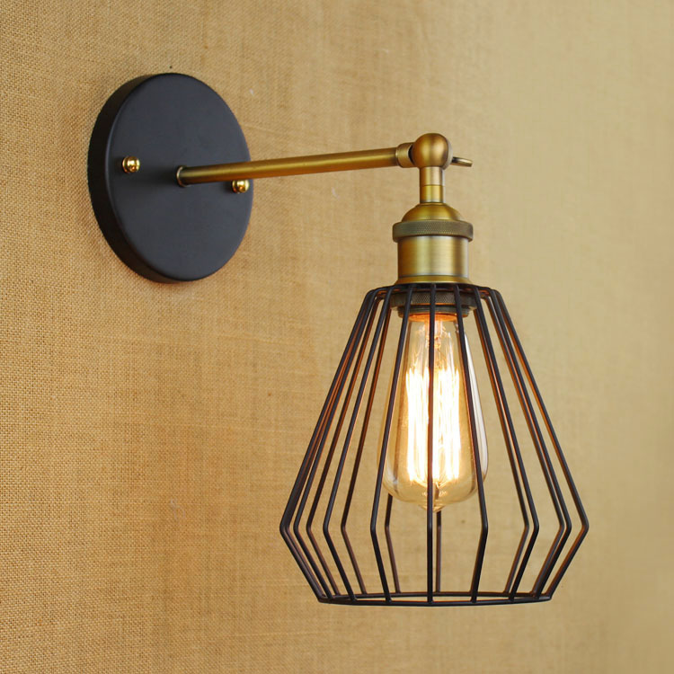 все цены на Loft Industrial Wall Lamps Antique Edison Wall lights with Bulbs E27 110V-220V Black Iron Wall Lamp Led for Living Room Lighting онлайн