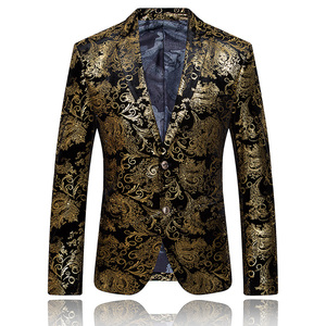 Image 2 - Paisley แต่งงานชุดผู้ชายสีดำทองดอกไม้ Tuxedo ผู้ชาย SLIM FIT บุรุษชุดสูทเครื่องแต่งกายแจ็คเก็ต/ กางเกงผู้ชาย XL