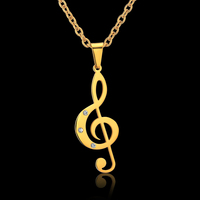 Punk Rock Stainless Steel Treble Clef Necklace Pendant Classical Musical Note Pendants Necklaces For Women Men