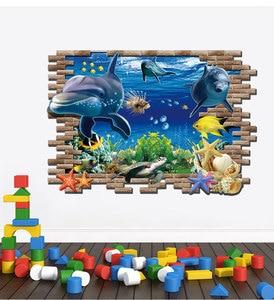 Image 4 - Dolphin Schildkröte Seastars Sea World 3D Kreative Wandaufkleber Für Home Küche Dekoration DIY Wandaufkleber Blaue Decor