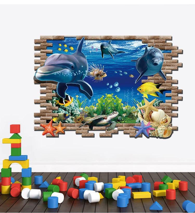 Image 4 - Dolphin Turtle Seastars Sea World 3D Creative Wall Sticker For Home Kitchen Decoration Home DIY Wall Stickers Blue Decor-in Wall Stickers from Home & Garden