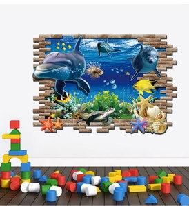 Image 4 - Дельфин черепаха Seastars морской мир 3D креативный настенный стикер для украшения дома кухни дома DIY настенные наклейки синий Декор