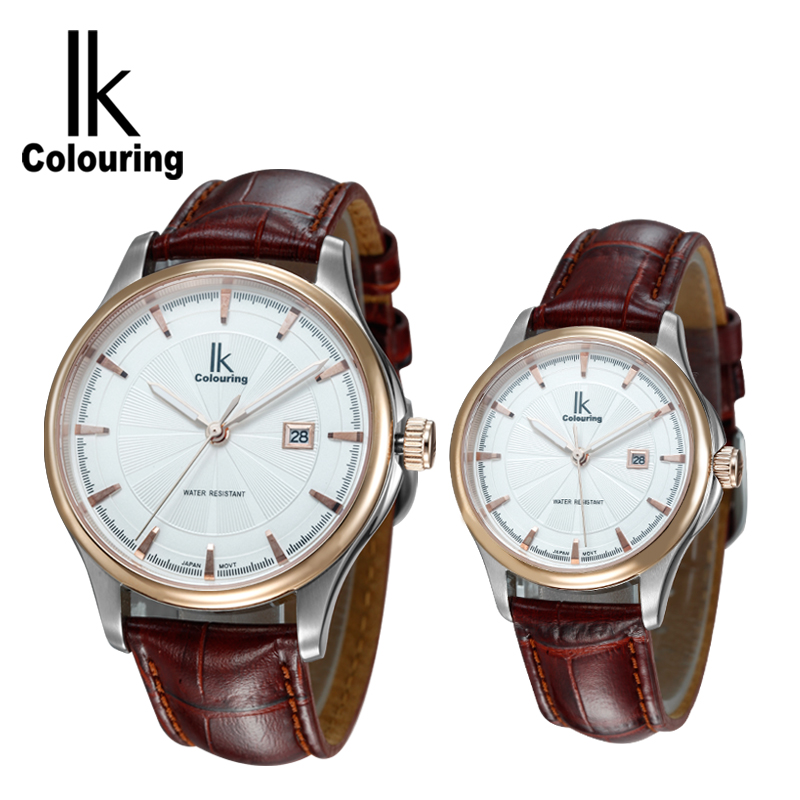 IK Coloring Fashion Lovers' Watch Day Quartz Men's Women Watches PU Leather Wristwatch Gift Box Free Ship coloring of trees