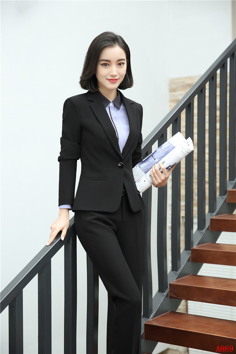 Uniform Designs Formal Pantsuits 2 Piece With Jackets And Pants For Ladies Career Blazers Pants Suits Female Trousers Sets