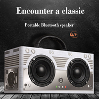 Retro High Fidelity HiFi Double Horn Woody Bluetooth Speaker Box Hand Held Multi Function Outdoor Domestic