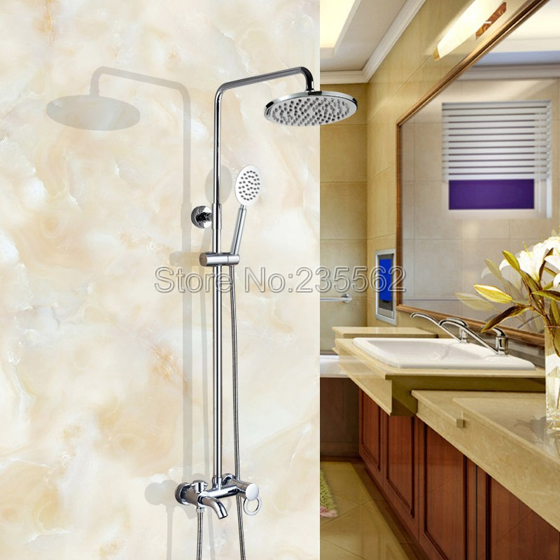 Modern Wall Mounted Chrome Brass Rainfall Bathroom Rain Shower Faucet Set Single Handle Tub Mixer Tap + Hand Shower Spray lcy337