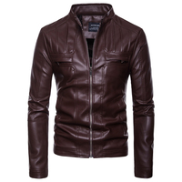 EU/US large size Winter coat Men Tops leather clothing zipper pocket stand neck new Moto & Biker style 2018 Leather jacket S XXL