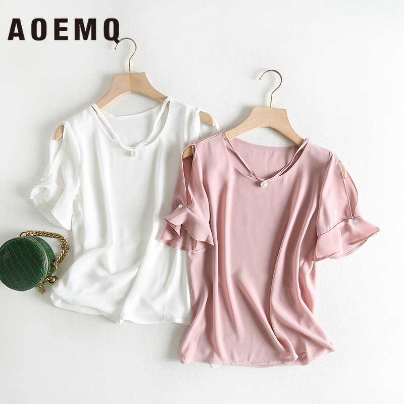 AOEMQ Blouse Summer New Style Women Tops Chiffon Soft Easy-clean Blouse Simulation Pearl Sweet Style Tops for Women's Clothing(China)