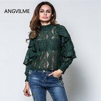 ANGVILME 2017 Fashion Perspective Designer Shirts For Women Top Brand Latest Top Designs Womens Shirt Slit