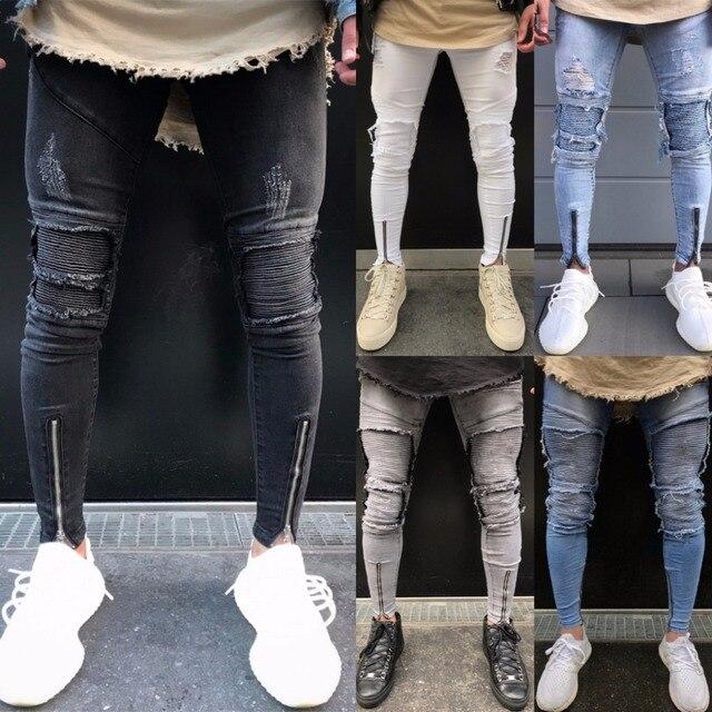 2018 primavera moda Hole Vaqueros hombres Pantalones skinny ripped Vaqueros  Denim Pantalones moto biker deshilachado lápiz 412ccc5c62e
