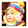 Новая Зимняя Детская Конфеты Шляпа Дети Шапка С Ушами Кролика формы Вязать Шерсть Длинный ушастый Hat Для 1-5 Лет Девочки и мальчик