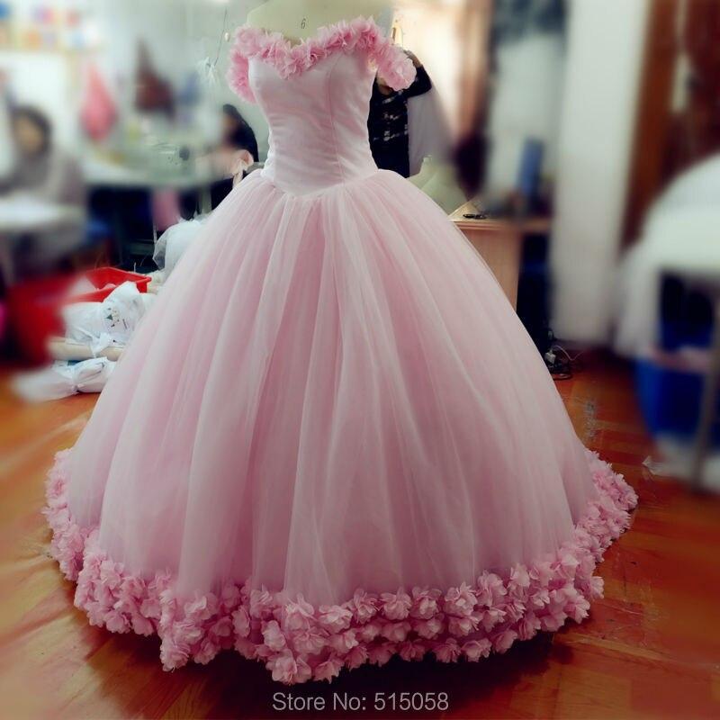 Aliexpress.com   Buy Real Photo Pink Flower Ball Gowns Wedding Dresses Slit  Neckline Cloud Dress Wedding Gowns 2017 Romantic from Reliable dress wedding  ... c81e342afc9e
