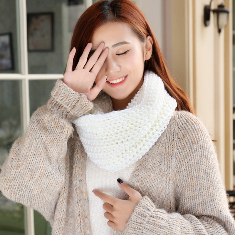 Autumn Winter Women Men Unisex Scarf Female Pullover Warm Mohair Knitted Crochet Scarf Solid Casual Comfortbale Windproof Scarfs