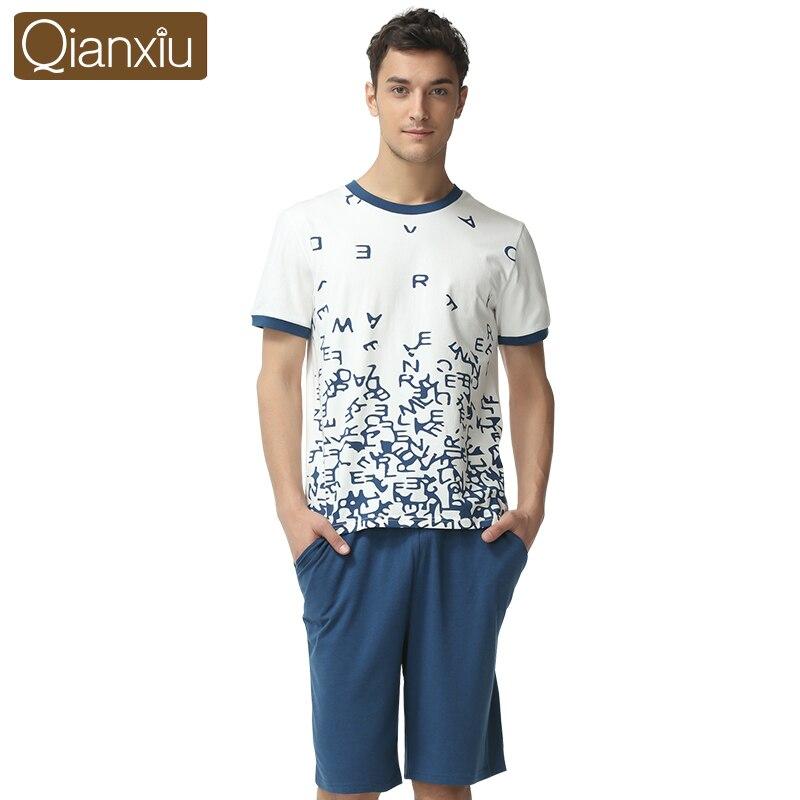 Qianxiu Pijama Hombre For Men 95%Cotton Sous Vetement Homme Casual Couple Pajama Sets 1649