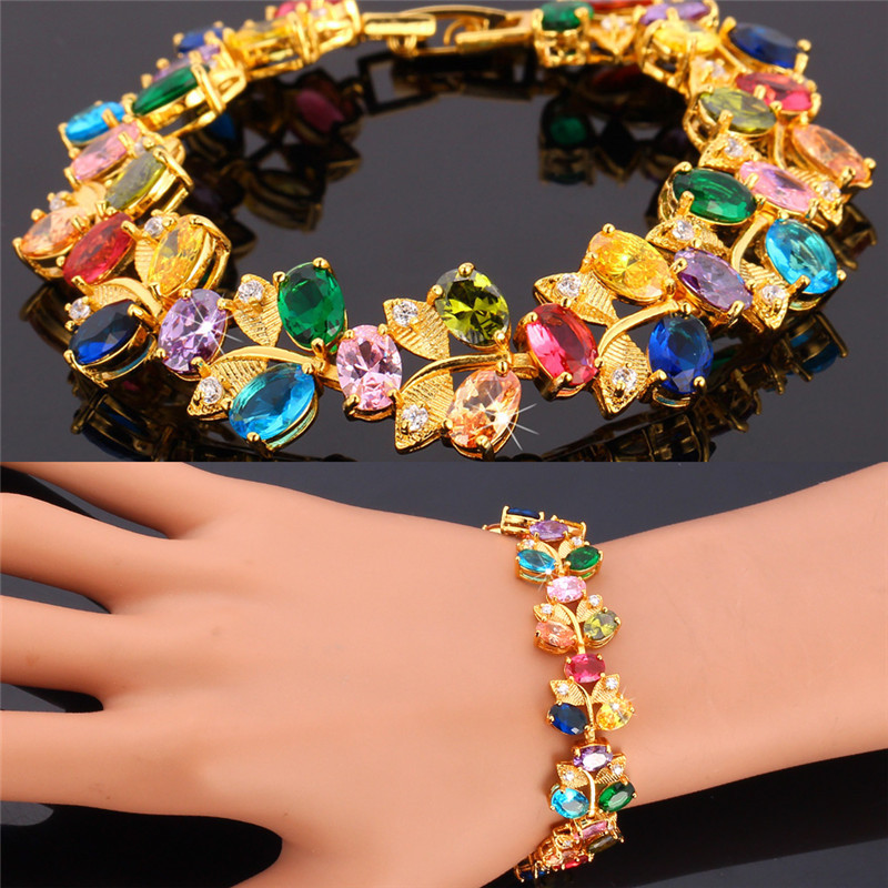 Kpop Luxury Bracelets Colorful Crystal Gold Color AAA+ Cubic Zircon High Quality Fashion Jewelry 17CM Bracelet For Women H012