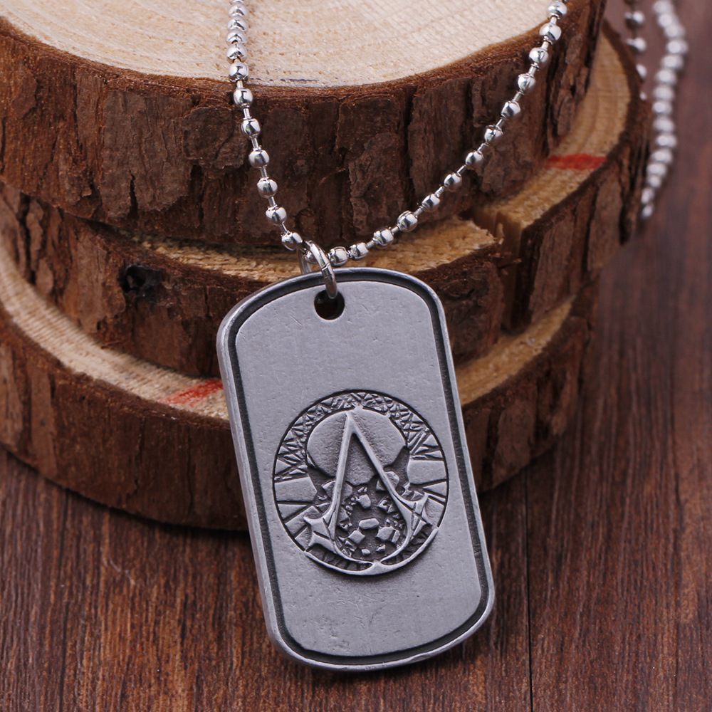 9e29affbd8d09 US $2.15  Assassins Creed Pendant Hidden Blade Rope Chain Necklace  Assassin's Creed Dog Tag Blade Pendant Fine Jewelry-in Pendant Necklaces  from ...